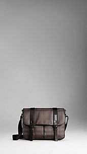 Bolso messenger mediano de checks Smoked