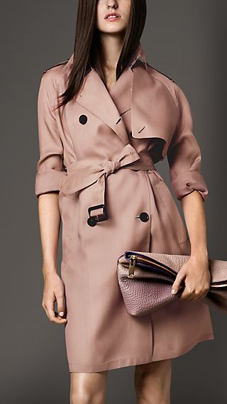 Long Oversize Detail Silk Trench Coat