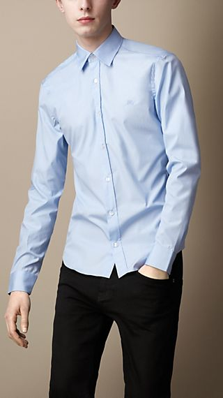 Check Detail Stretch-Cotton Shirt
