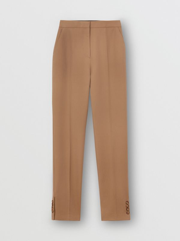 Straight Fit Button Detail Wool Blend Tailored Trousers in Camel - Women | Burberry - cell image 3