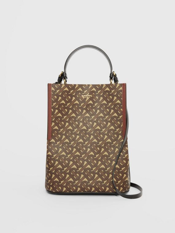 Small Monogram E-canvas Peggy Bucket Bag in Bridle Brown