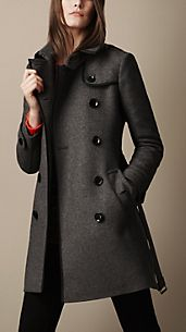 Mid-Length Woven Wool Blend Trench Coat