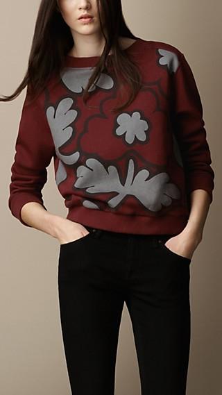 Flower Print Cotton Blend Sweatshirt