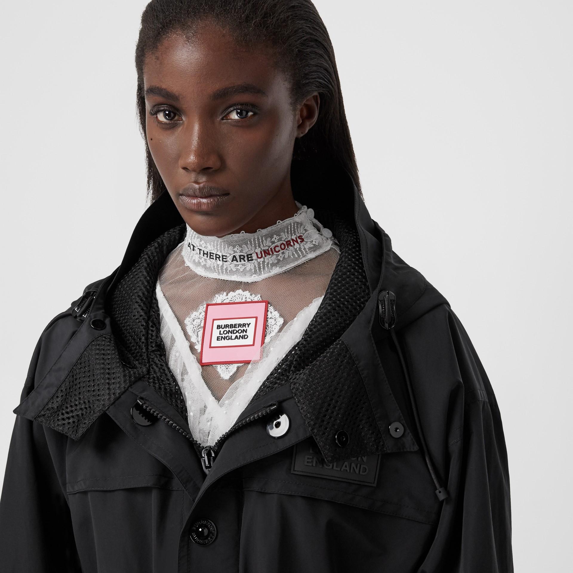 Cut-out Hem Technical Cotton Parka in Black - Women | Burberry Australia - gallery image 1