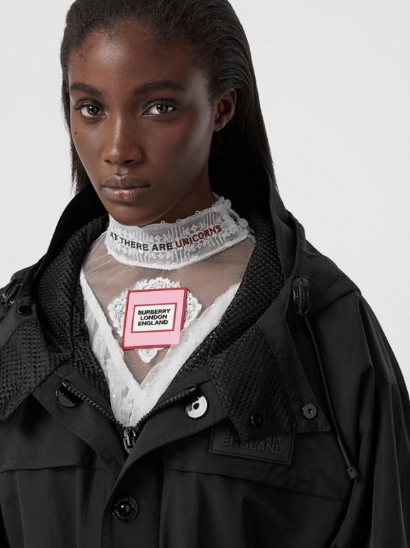 Cut-out Hem Technical Cotton Parka in Black - Women | Burberry Australia - cell image 1