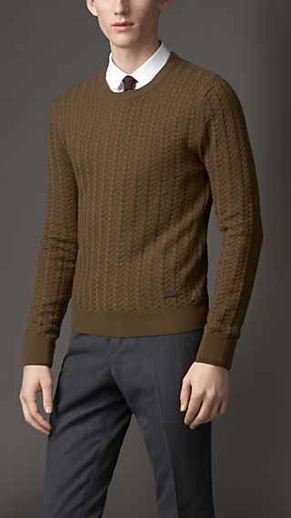 Cashmere Wool Aran Knit Sweater