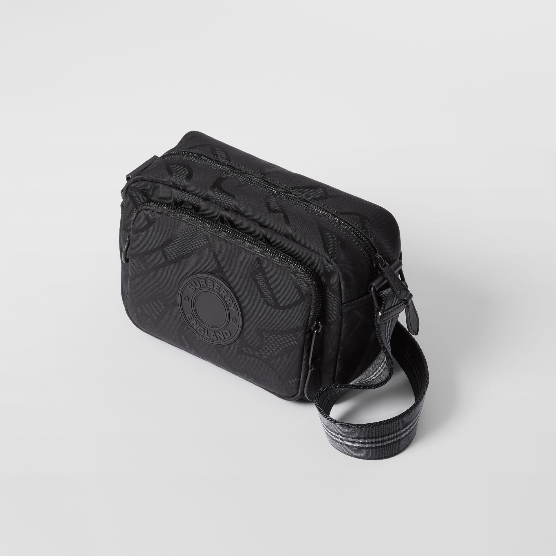 Monogram Recycled Polyester Crossbody Bag in Black - Men   Burberry United Kingdom - gallery image 2