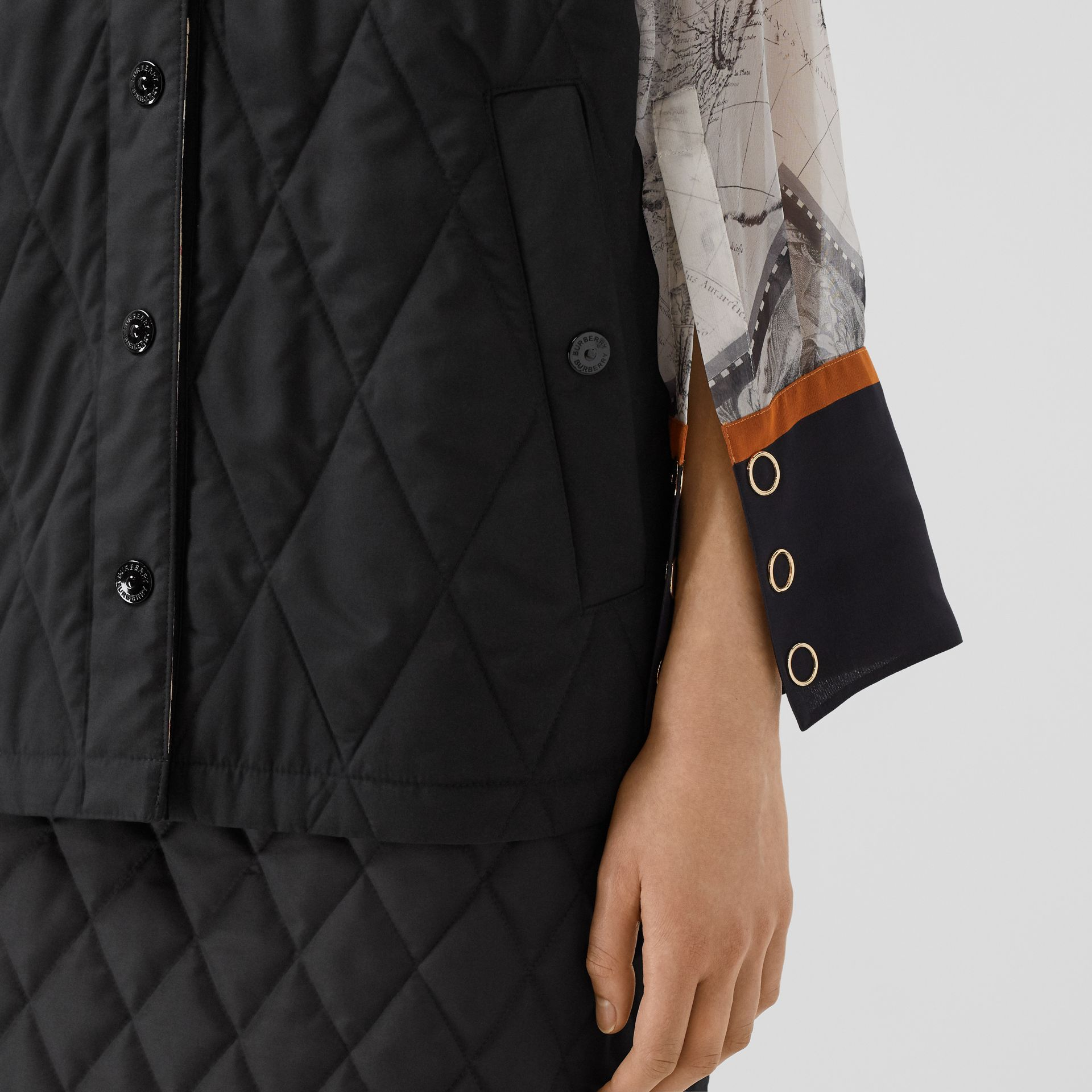 Diamond Quilted Gilet in Black   Burberry United Kingdom - gallery image 4