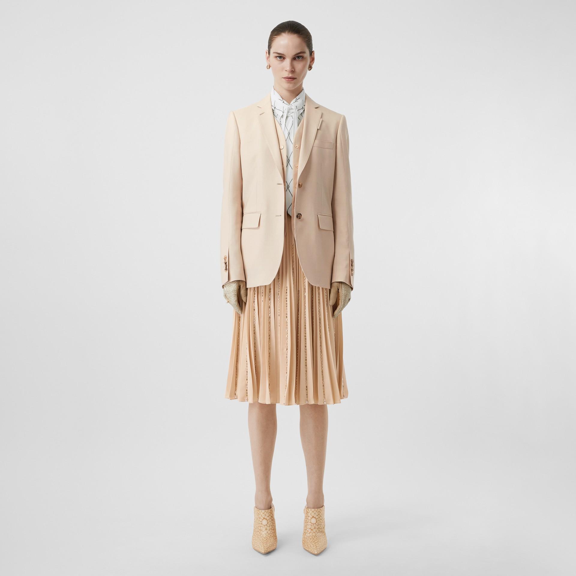 Waistcoat Detail Mohair Silk Blend Blazer in Sesame - Women | Burberry - gallery image 0