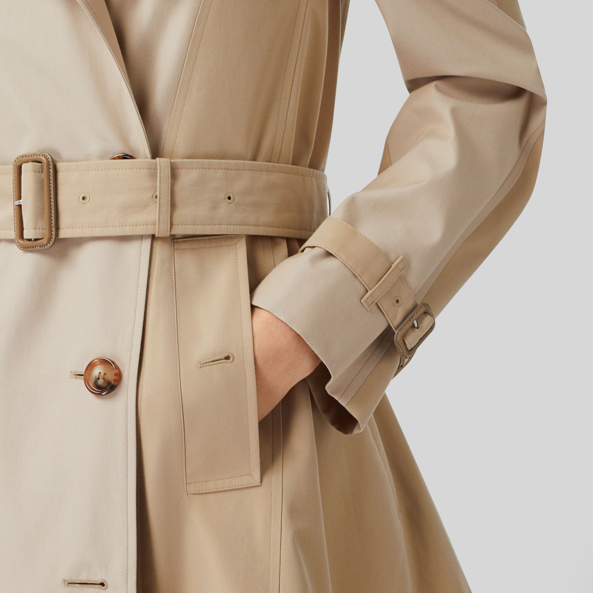 Gathered Detail Cotton Gabardine Trench Coat in Light Sand - Women | Burberry - gallery image 4
