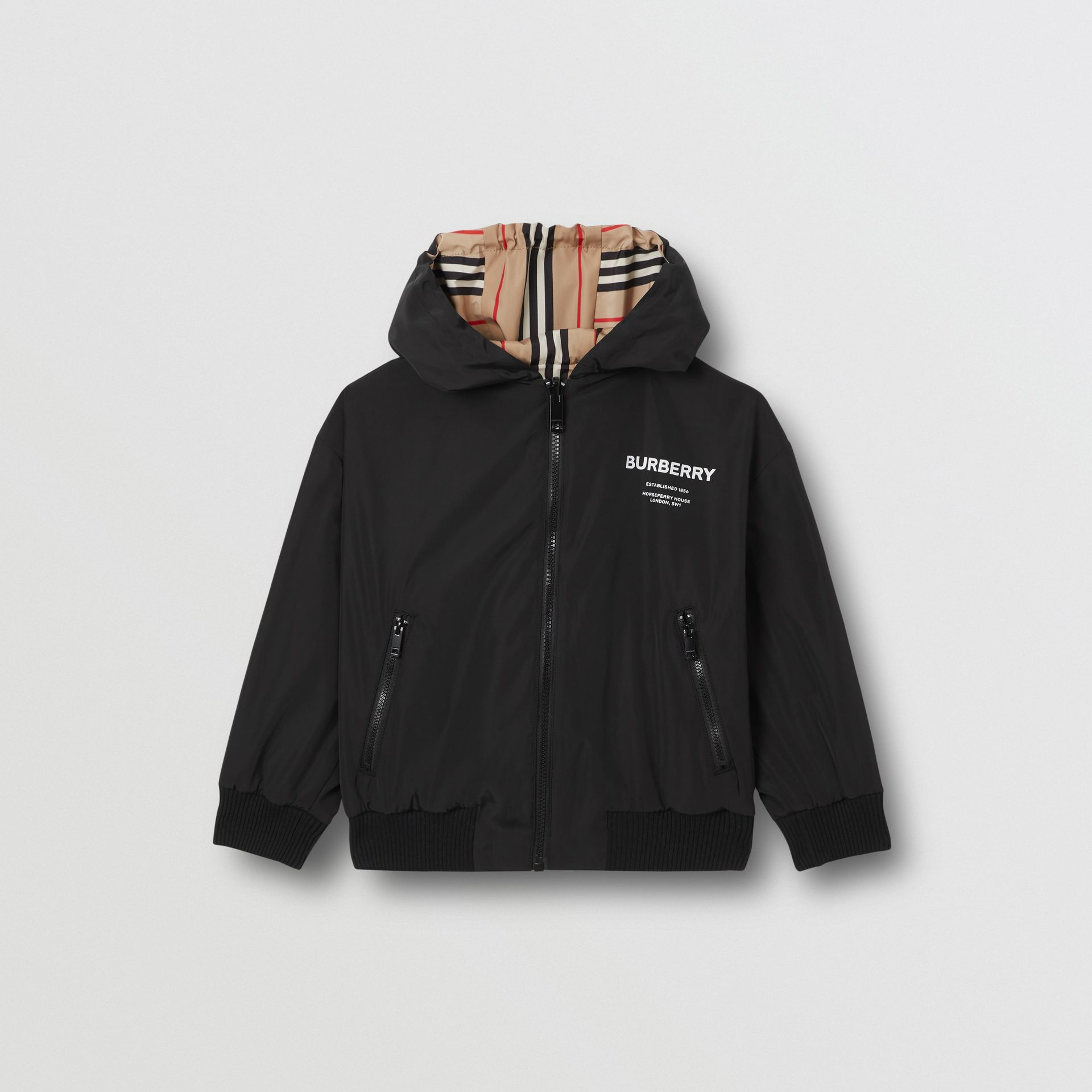 Chaqueta reversible a rayas Icon Stripe con capucha (Negro) | Burberry - imagen de la galería 5