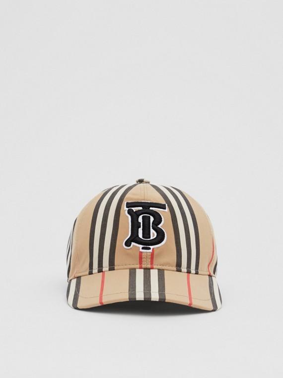 Casquette de baseball en coton à rayures iconiques et Monogram (Beige D'archive)