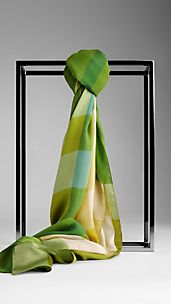 Check Silk Satin Scarf