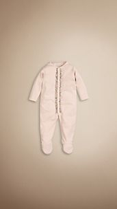 Check Ruffle Cotton Sleepsuit