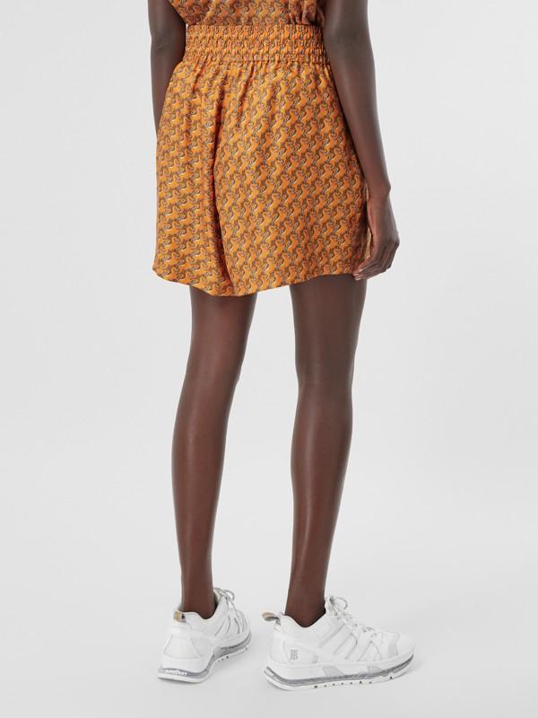 Unicorn Print Silk Twill Shorts in Bright Melon   Burberry United Kingdom - cell image 2