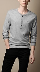 Cotton Jersey Garment Dyed Henley