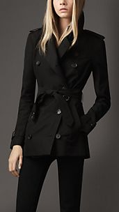 Trench coat corto in gabardine di cotone