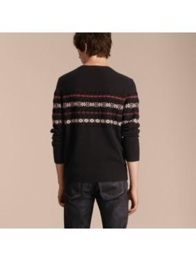 费尔岛针织混纺羊绒衫