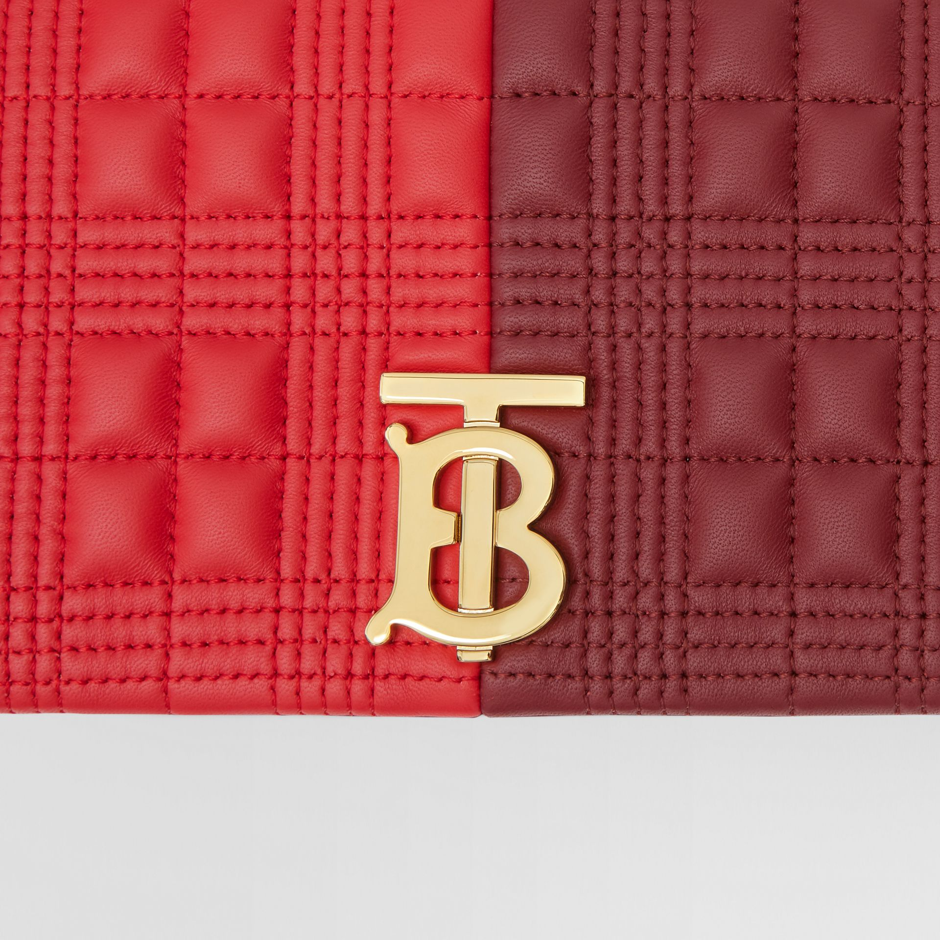 Small Quilted Colour Block Lambskin Lola Bag in Bright Red/burgundy - Women | Burberry Hong Kong S.A.R. - gallery image 10