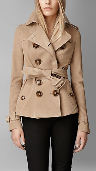 Calf Suede Trench Jacket