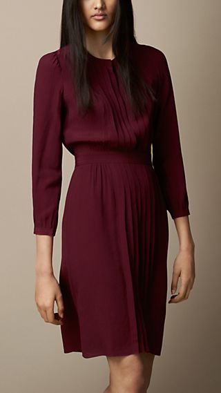 Pleat Detail Crepe Dress