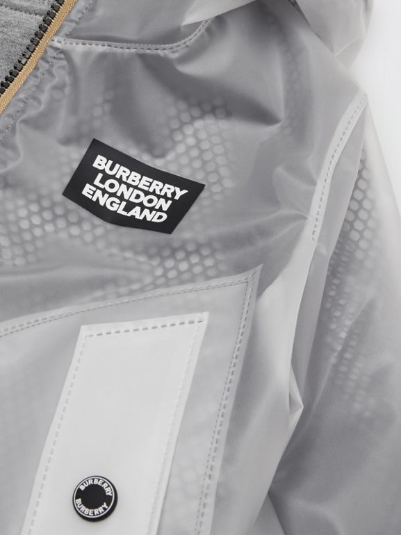 Logo Print Lightweight Hooded Jacket in Clear | Burberry - cell image 1