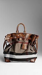 Alligator and Canvas Check Traveller Bag