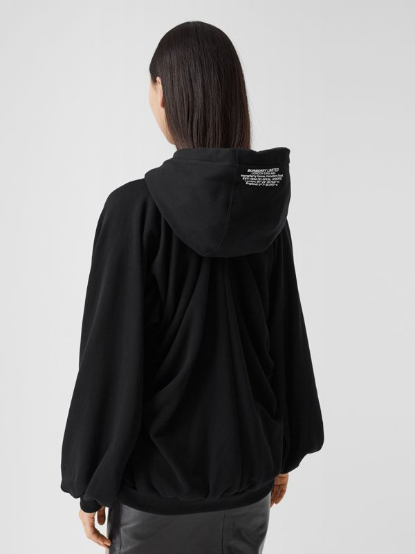 Location Print Gathered Cotton Oversized Hoodie in Black | Burberry United Kingdom - cell image 2
