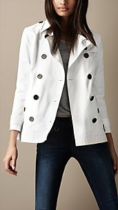 Short Stretch-Cotton Trench Coat