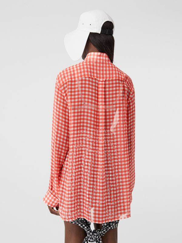 Gingham Silk Chiffon Pussy-bow Blouse in Red - Women | Burberry - cell image 2