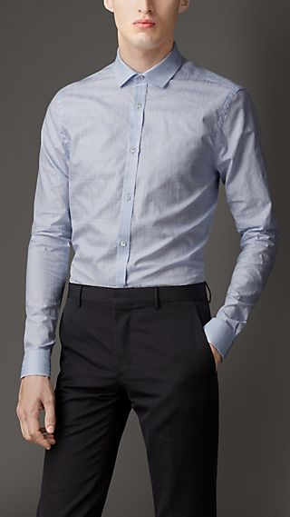 Straight Fit Jacquard Check Cotton Shirt