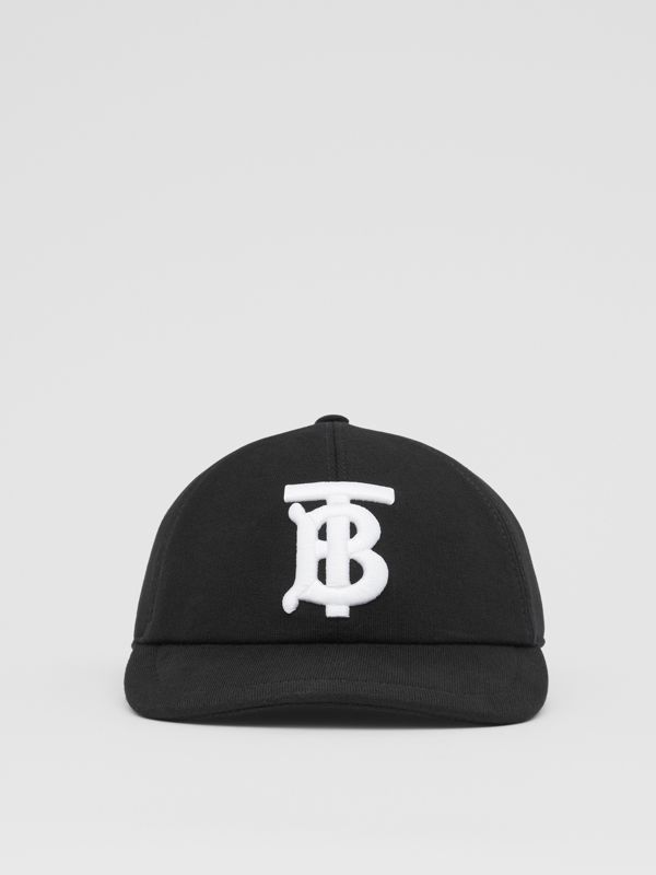 Monogram Motif Cotton Jersey Baseball Cap in Black | Burberry - cell image 3