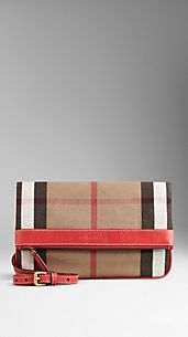 Canvas Check Foldover Crossbody Bag