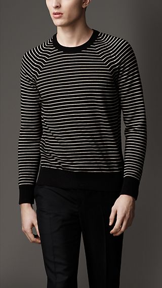 Striped Wool Silk Sweater