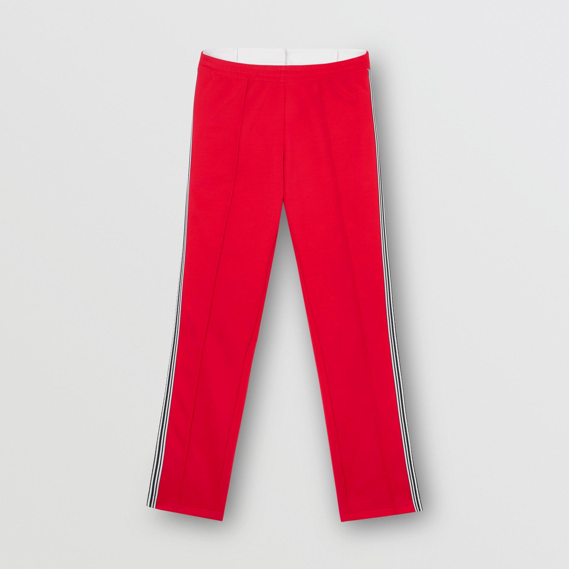 Track pants de malha com cintura dupla e detalhe listrado (Vermelho Intenso) - Mulheres | Burberry - galeria de imagens 3