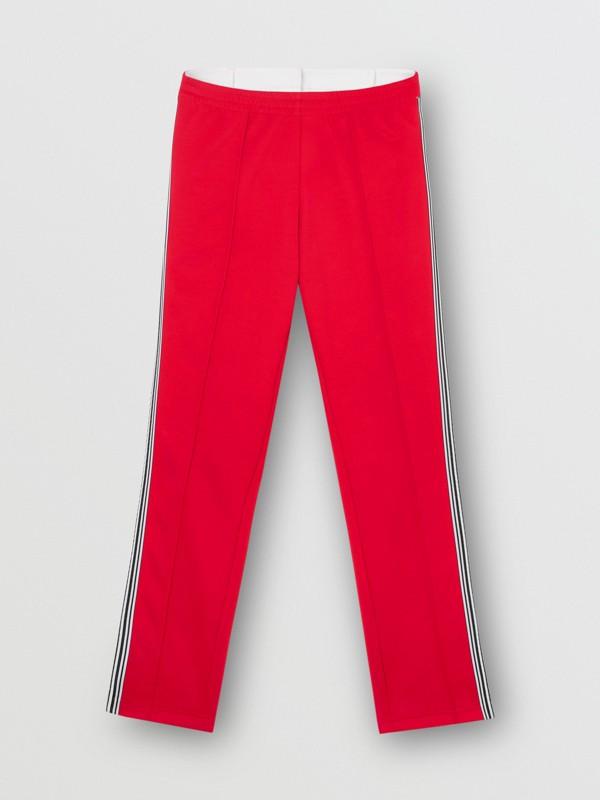 Track pants de malha com cintura dupla e detalhe listrado (Vermelho Intenso) - Mulheres | Burberry - cell image 3