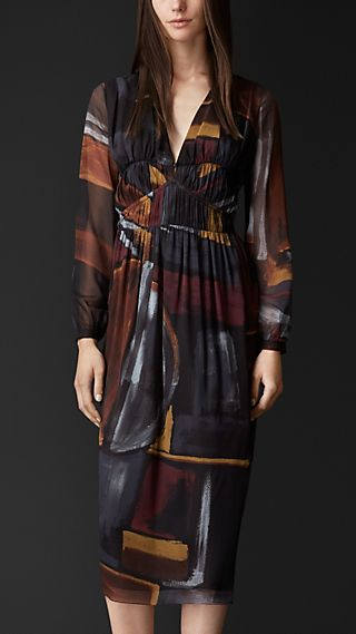 Geometric Print Layered Silk Smock Dress