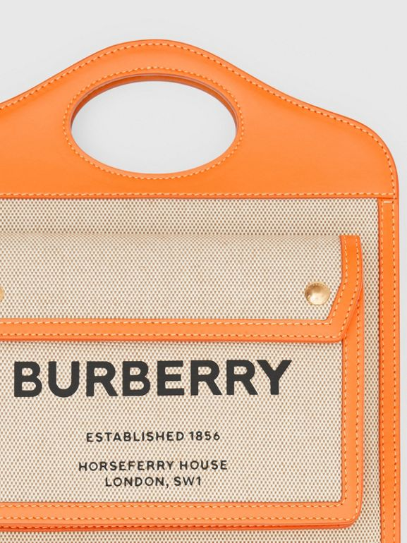Mini Two-tone Canvas and Leather Pocket Bag in Orange - Women | Burberry - cell image 1