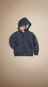 Check Detail Hooded Top