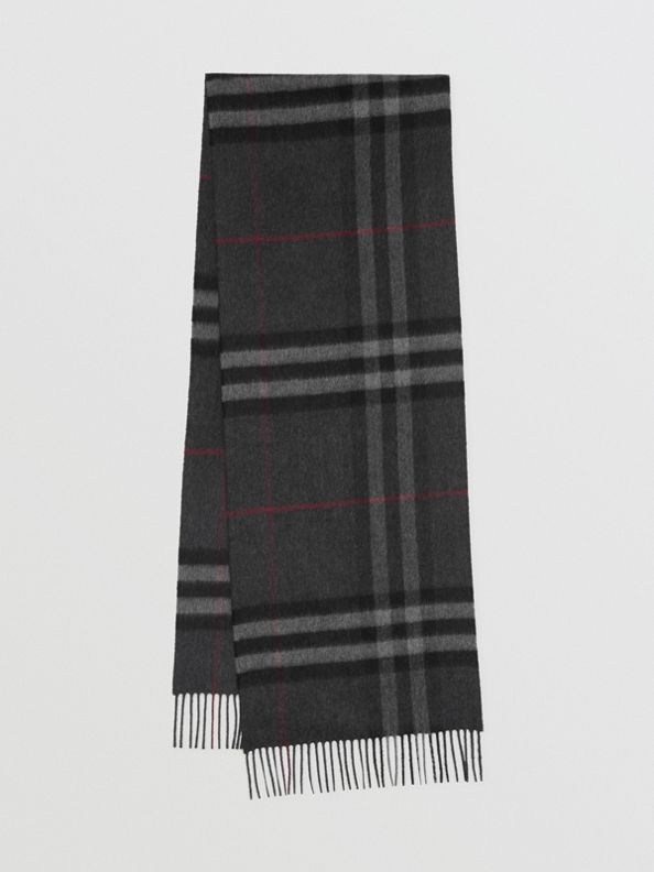 The Classic Check Cashmere Scarf in Charcoal