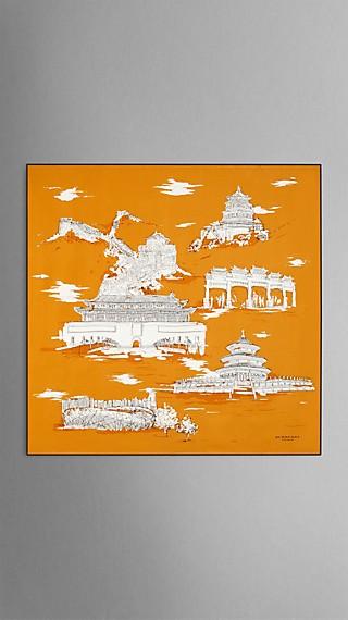Seidenkarree mit Pekinger Wahrzeichen – Mittelgroß