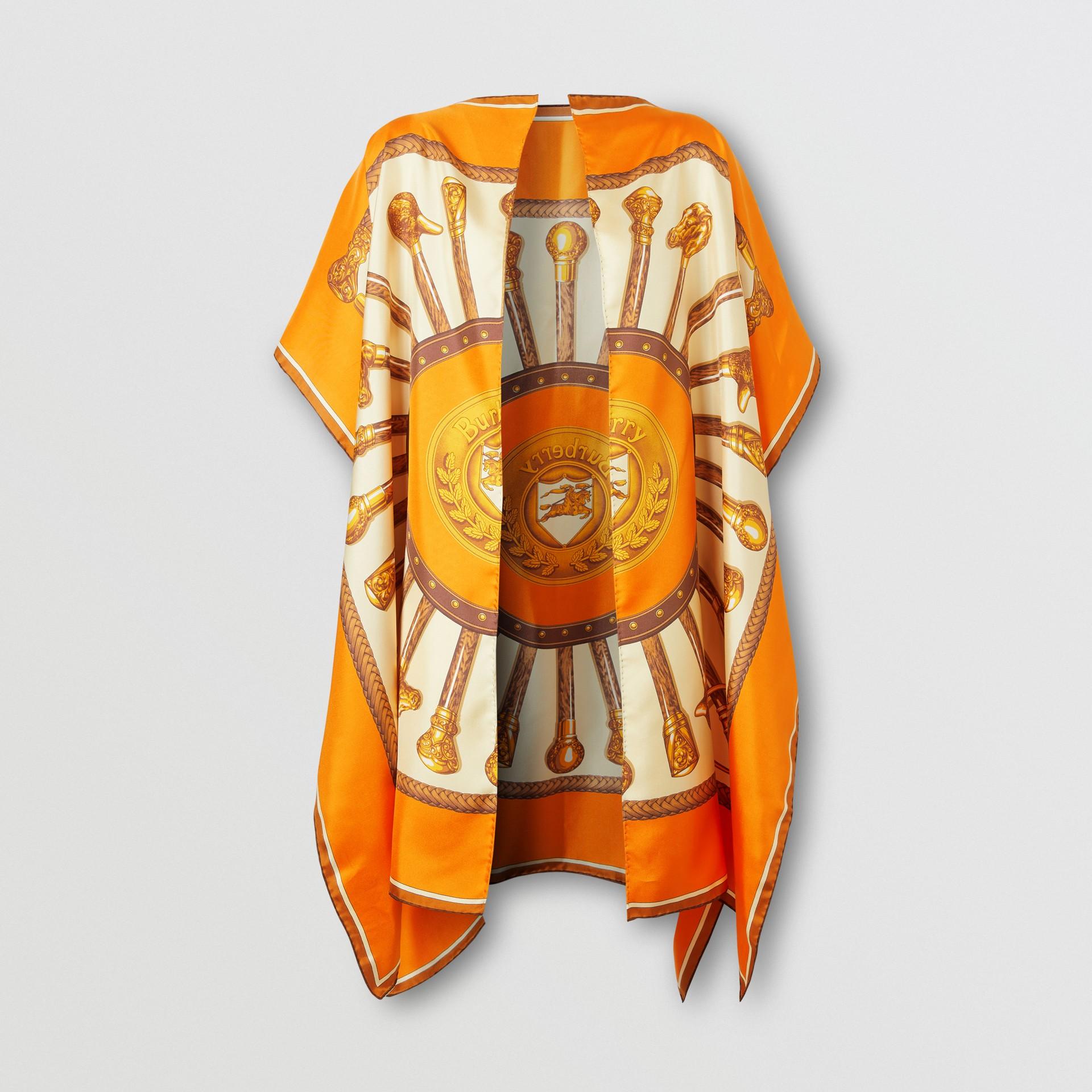 Archive Scarf Print Silk Twill Cape in Bright Orange - Women | Burberry - gallery image 3