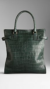 Tarnished Alligator Leather Tote Bag