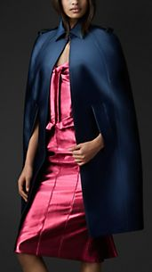 Satin Sculptural Trench Cape