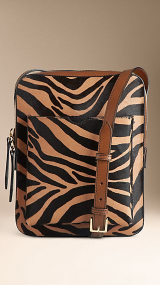 Small Striped Animal Print Crossbody Satchel