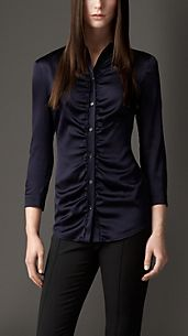 Ruched Stretch-Silk Shirt