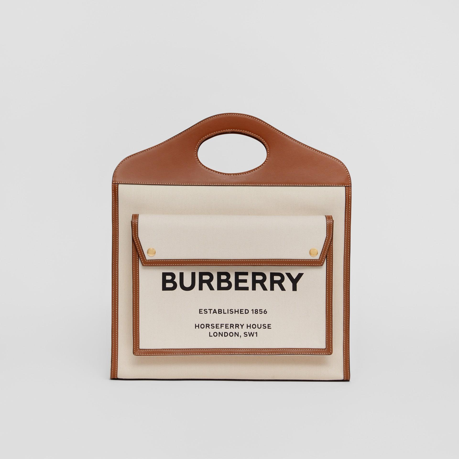 Bolso Pocket mediano en lona y piel de dos tonos (Natural / Marrón Malta) - Mujer | Burberry - imagen de la galería 0