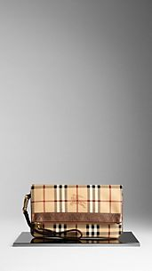 Haymarket Check  Metallic Leather Detail Wristlet