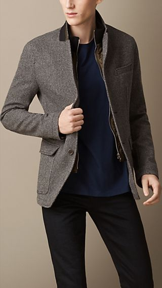 Wool Herringbone Blazer with Removable  Warmer