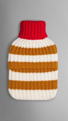 Striped Knitted Cashmere Hot Water Bottle Cover Burberry
